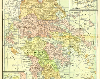 map of Greece, a detailed and colorful printable digital map no. 776