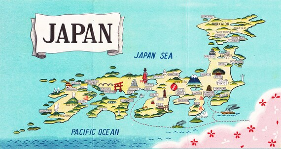 map of Japan, charming cartograph from the 1950\'s, a printable digital  image no. 1427