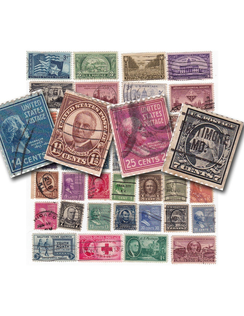 photograph regarding Printable Postage known as classic printable postage stamps, electronic obtain collage sheet no. 613.