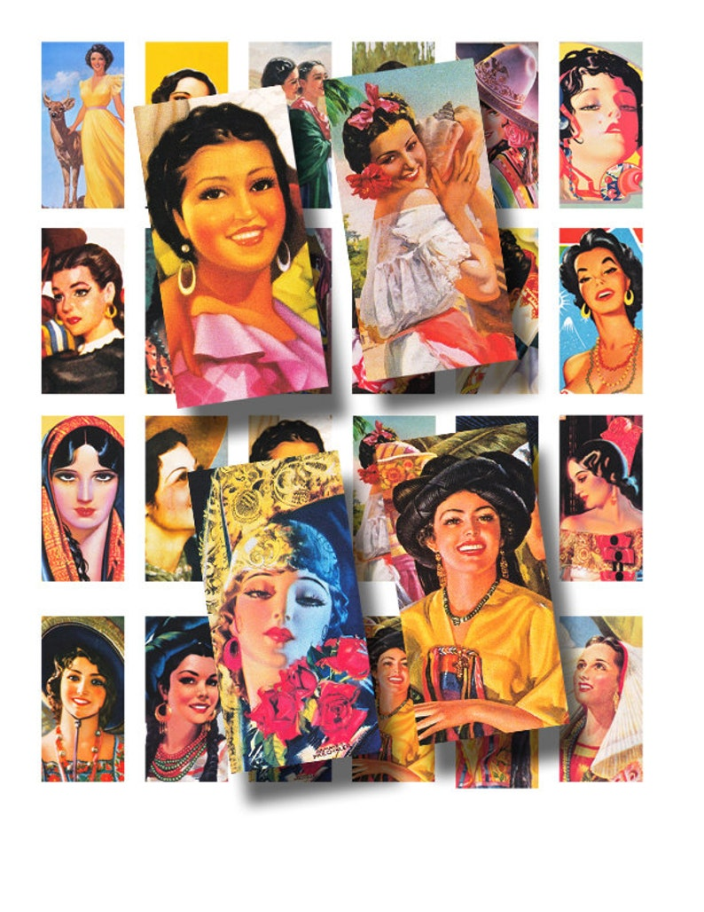 domino tile sized Mexican beauties 431 Latina Ladies 1 x 2 inch digital collage sheet no