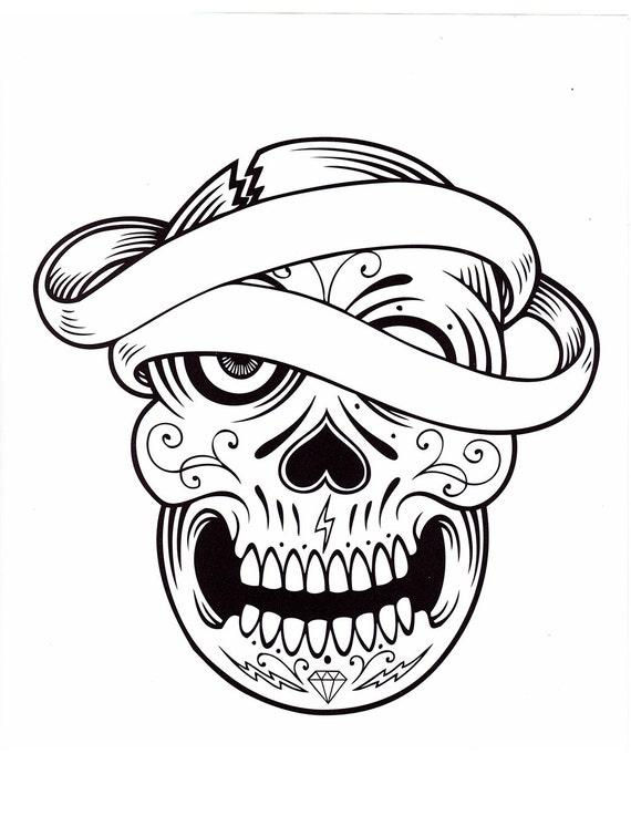 - Sugar Skull Coloring Pages Five Different Printable Digital Etsy