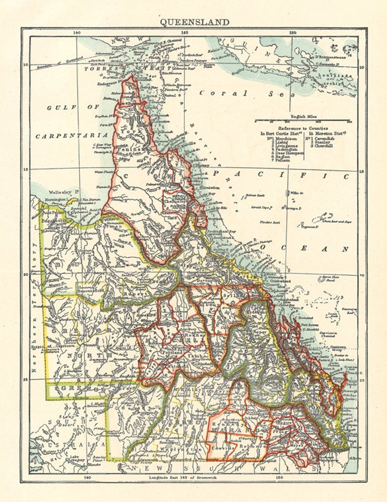 Queensland Australia Map.Map Of Queensland Australia A Vintage Printable Digital Image Etsy