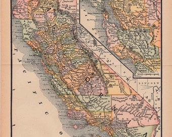 map of California from 1890, a vintage printable digital map,  no.  237.