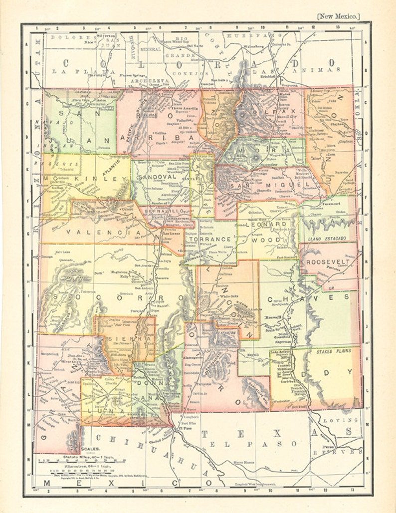 graphic relating to Printable Map of New Mexico known as map of Fresh Mexico, exclusive reward or dwelling decor, a printable electronic obtain no. 257