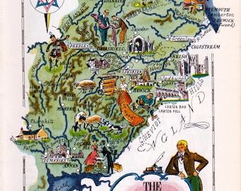 old pictorial map of Scotland's border region, printable digital download