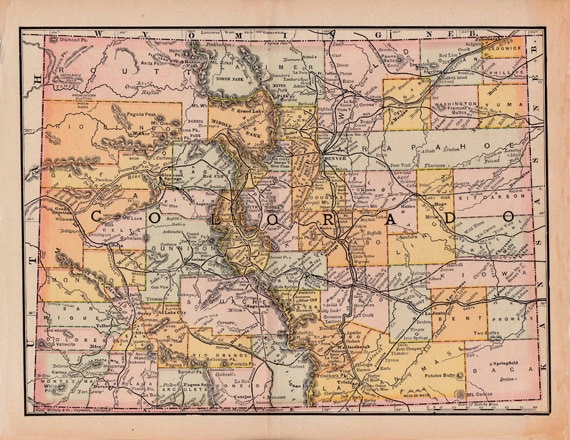 photograph relating to Printable Map of Colorado named printable map of Colorado against 1891, housewarming reward, residence decor, electronic down load no. 359