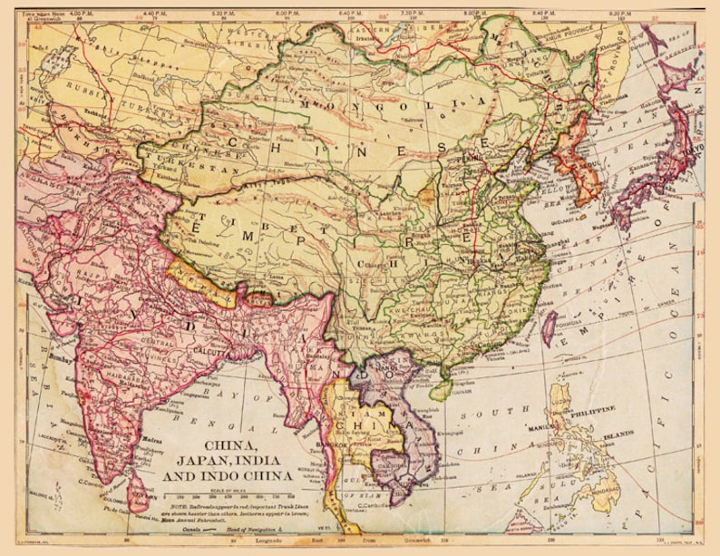 Antrique Map Of China Tibet Mongolia And India From 1900 Etsy