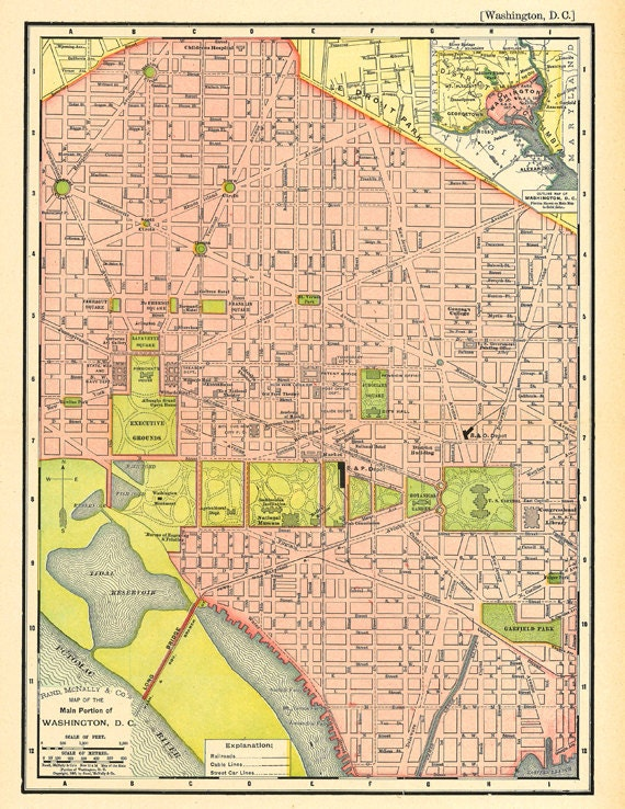 image relating to Printable Washington Dc Map called map of Washington D.C., an antique printable map, electronic down load no. 677.