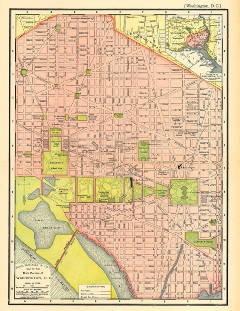 graphic relating to Washington Dc Printable Map identified as map of Washington D.C., an antique printable map, electronic down load no. 677.