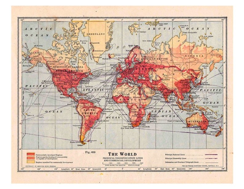 World map from 1916 a printable digital map for clroom   Etsy on
