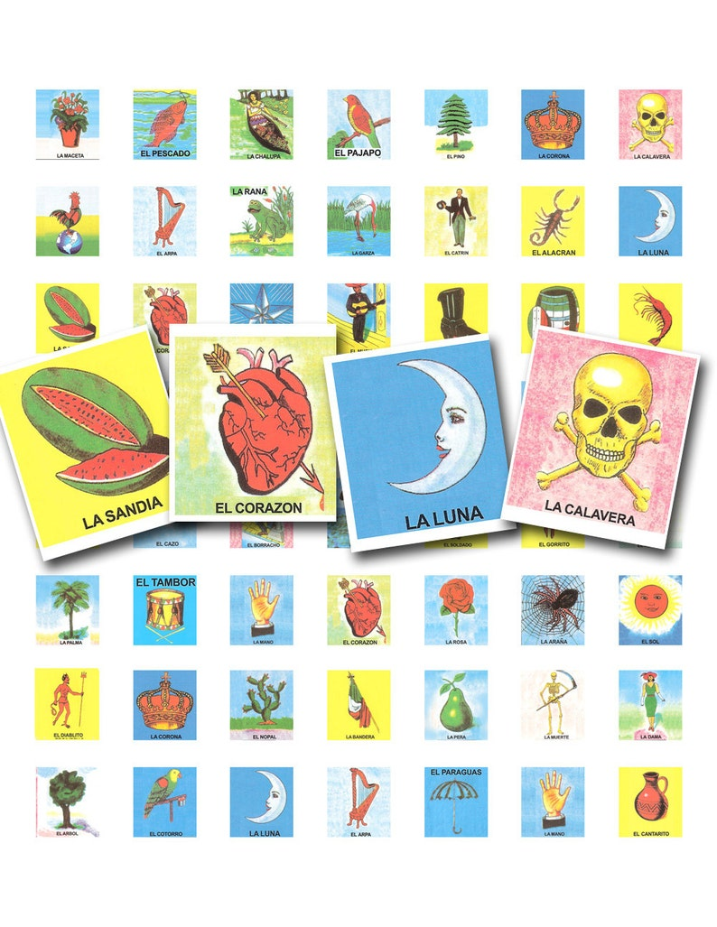 graphic relating to Loteria Game Printable identified as juego de loteria, hecho en Mexico, 75 x .83 inches, for scrabble tiles, a printable electronic collage sheet, no. 850.