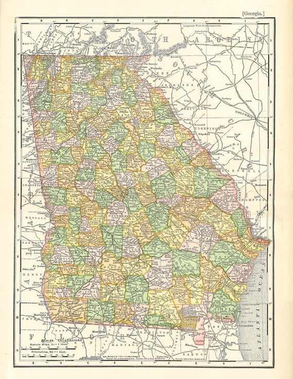 picture regarding Printable Map of Georgia referred to as antique map of Ga, a printable map for household decor and crafts, electronic obtain no. 100