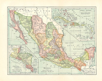 map of Mexico from the 1900's, a printable digital download, collage sheet no. 927