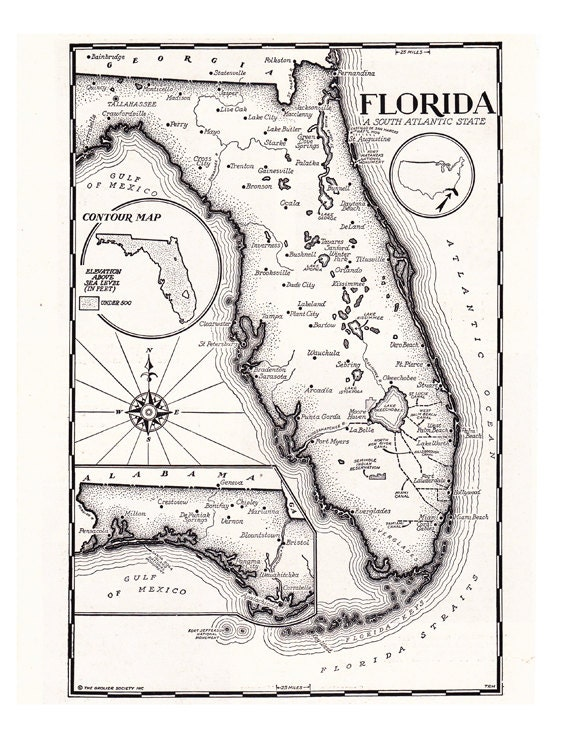 Black And White Map Of Florida Map of Florida in black and white hand drawn map from the | Etsy
