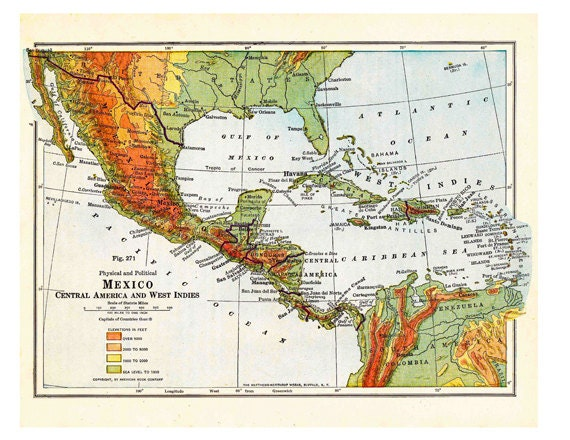 Old Map Of Mexico A Printable Digital Image No. 246