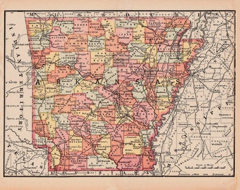 map of Arkansas from 1890, unique gift or home decor, printable digital map no. 327