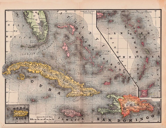 map of Cuba Jamaica and Haiti from 1891 vintage printable | Etsy