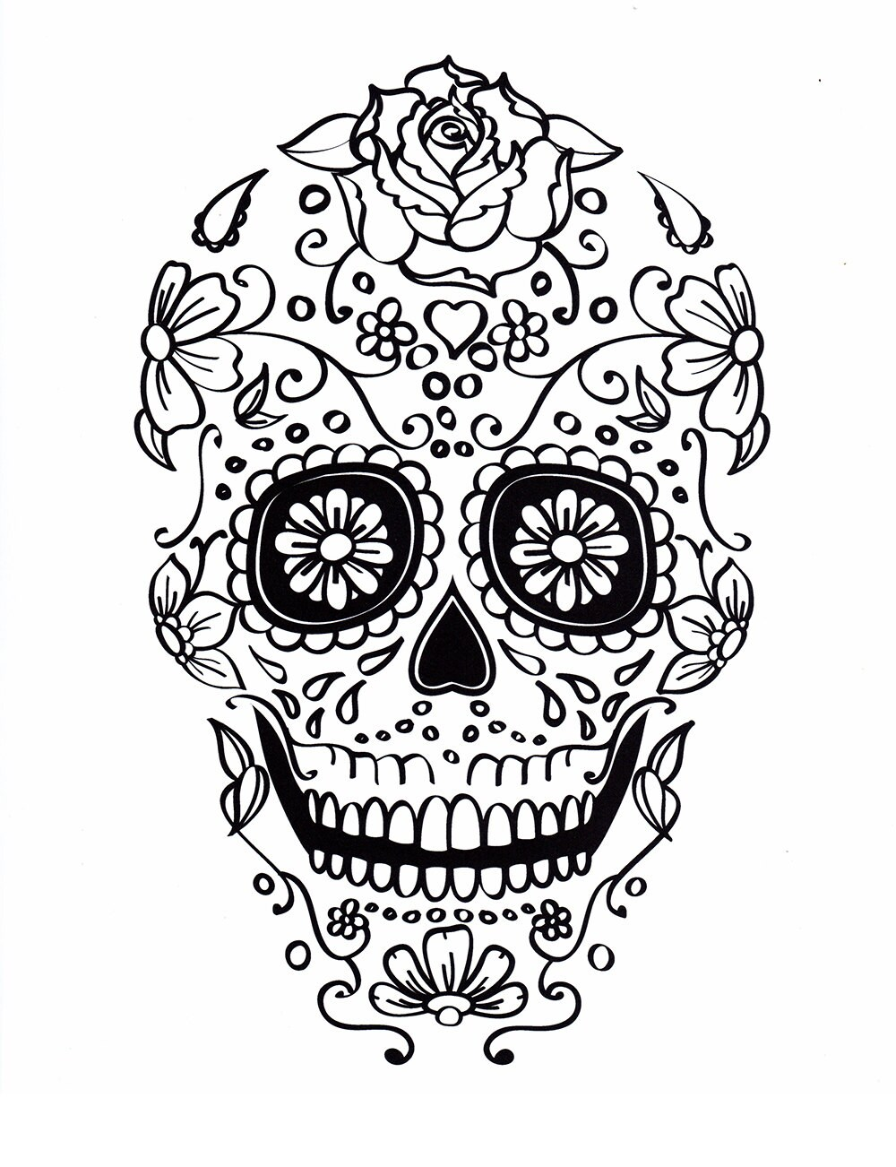 This is an image of Persnickety Printable Sugar Skull Coloring Pages