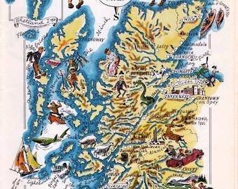 old pictorial map of Scotland's Highlands region, printable digital download