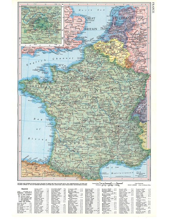 graphic regarding Printable Map of France named map of France versus the 1950s, common printable electronic map no. 557