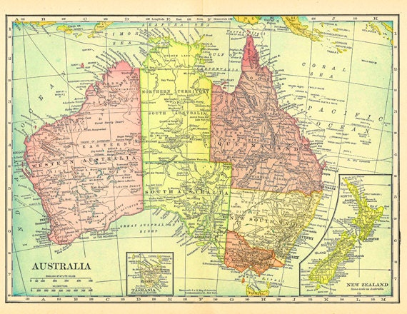 map of Australia, New Zealand, and Tasmania, printable digital collage  sheet no. 748