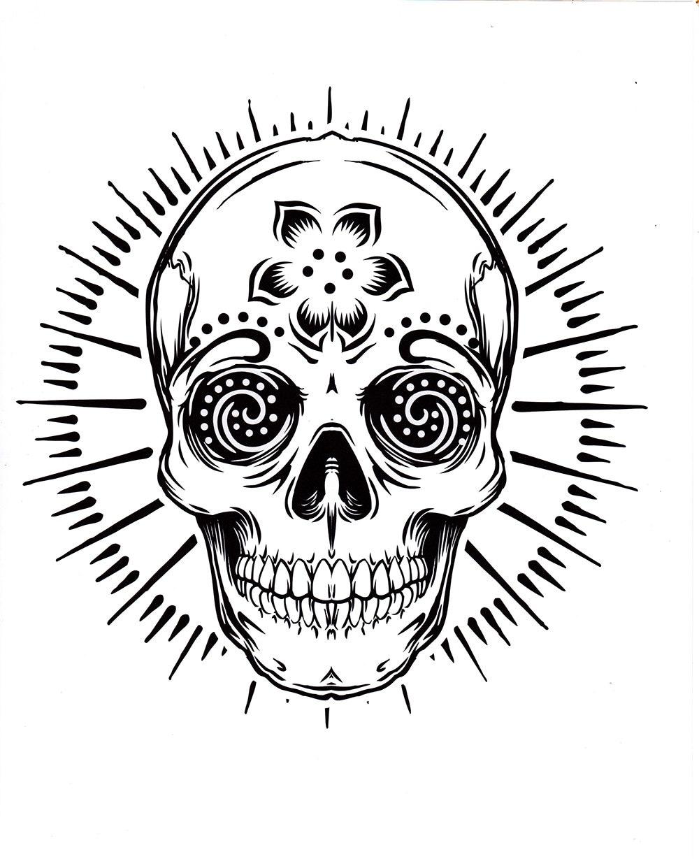 cinco diferentes azúcar cráneo tatuaje dibujos para colorear   Etsy