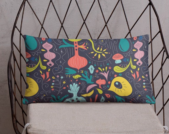 Fluorescent Garden Throw Pillow