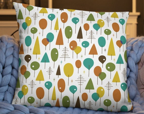 Mod Trees Throw Pillow
