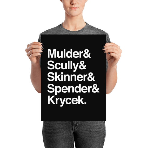 The X-Files in Helvetica - Mulder Scully Skinner Spender Krycek Poster