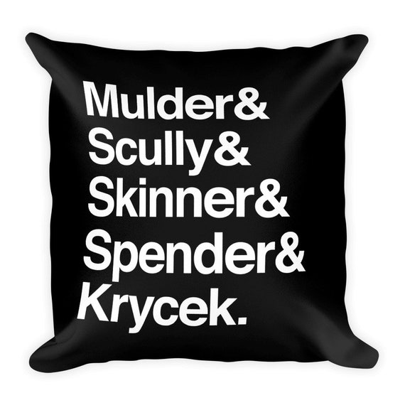 The X-Files in Helvetica - Mulder Scully Skinner Spender Krycek Pillow