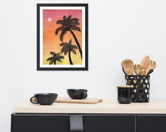 Tropical Eve - Framed watercolor print