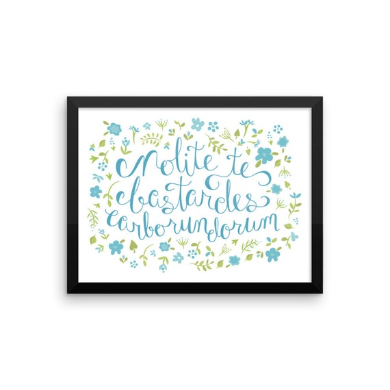 Don't Let the Bastards Grind You Down - Blue Floral Framed Poster