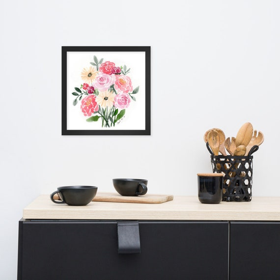 Watercolor Bouquet - Framed watercolor print