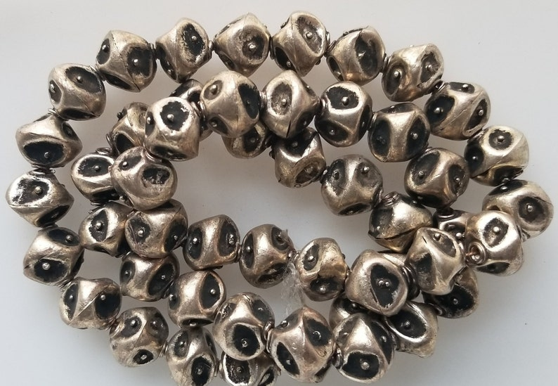 large beads African beads tribal beads 10 Unique Ethiopian metal beads banded beads Ethiopian beads metal beads