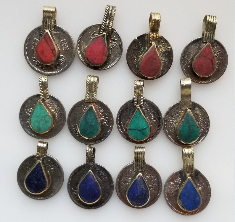 Small Afghan gemstone coins Kuchi coins tribal coins