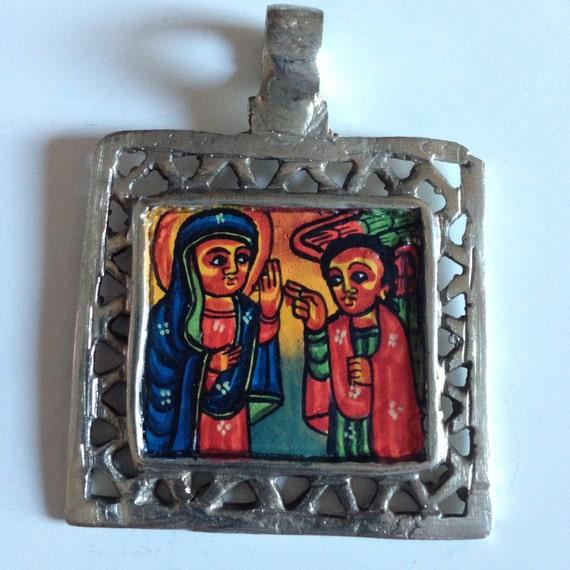 Vintage coin style Ethiopian icon paint silver pendant