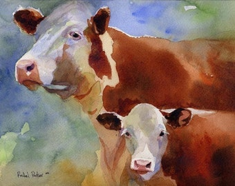 Hereford cow art Print of my watercolor painting farm realistic colorful huge big large brown custom hand painted handmade