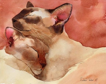 Siamese Cat Chocolate Lilac Flame Red Point Art Print of my watercolor painting