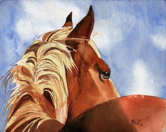 Giclee Print Belgian Haflinger Draft Horse Painting Art Charleston SC Decor Gift