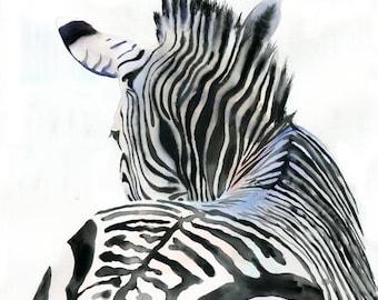 Zebra Art Print of Watercolor Painting Safari Africa black white large huge big custom canvas hand painted