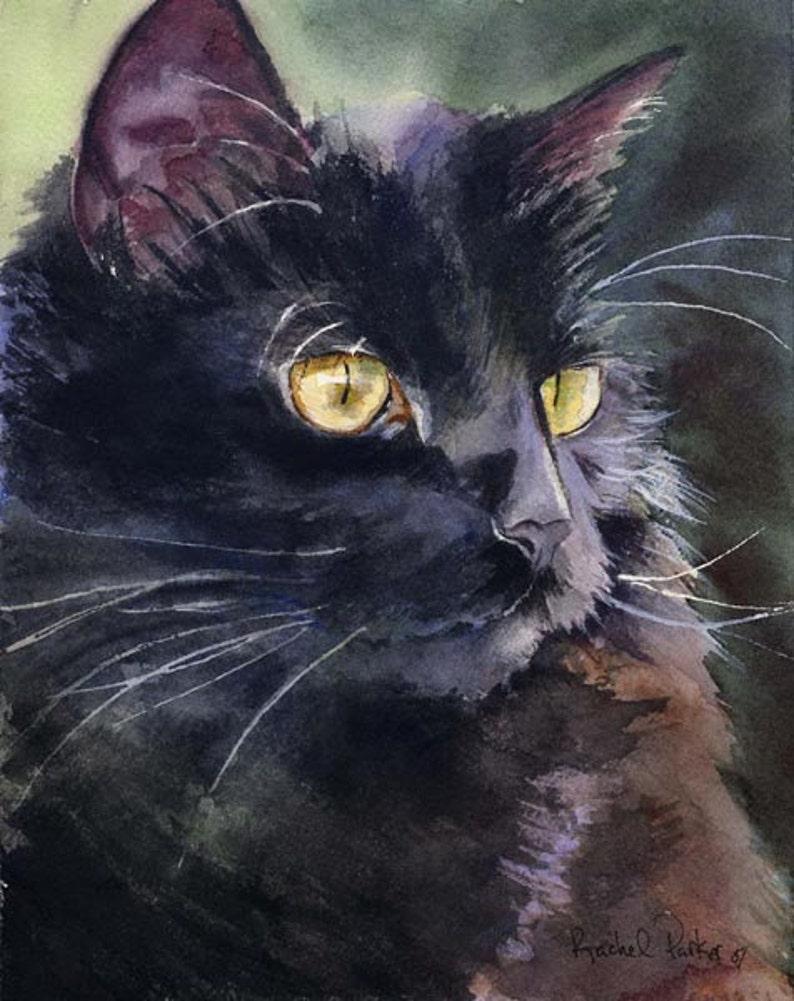 Black Cat reproduction peinture aquarelle Rachel Parker image 0