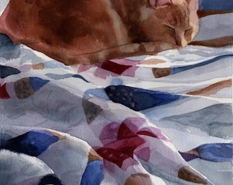 Orange Marmalade Ginger Tabby Cat Art Print of my watercolor painting