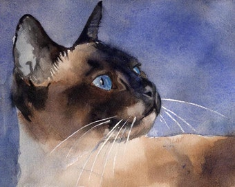 Chocolate point Applehead Siamese Cat Art Print of my watercolor painting seal point large big huge