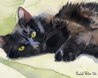 Black Cat Art Painting PRINT Watercolor Rachel Parker rachelsstudio Artist Artwork Huge Large Big Girls Teens Gift Girl Teen
