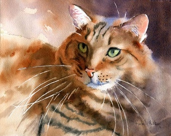 Maine Coon Tabby Cat Print of my Watercolor painting art