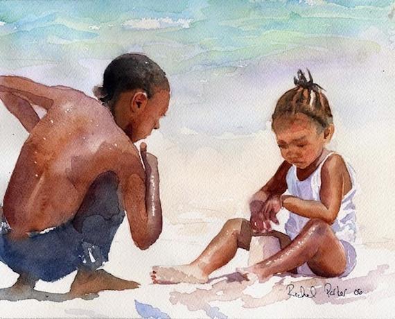 Black Child Children Boy Girl Beach Art Print Of My Watercolor  Etsy-1034