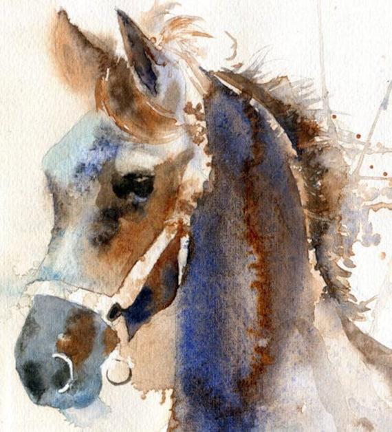 Giclee PRINT Friesian Morgan Arabian Horse Art Painting Black Watercolor