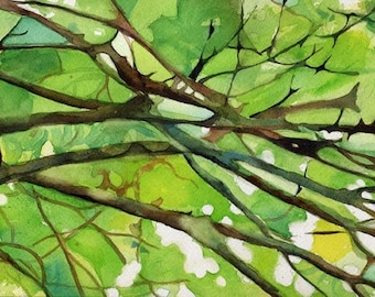 Zen nature abstract green art Print of my watercolor painting          Branches Abstract