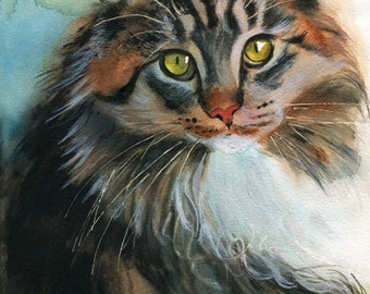 Maine Coon Tabby Cat Art Print of my Watercolor Painting large huge big custom painting acrylic canvas realistic realism