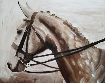 Original Irish Draught Thoroughbred Warmblood Gelding  horse art watercolor Painting equestrian